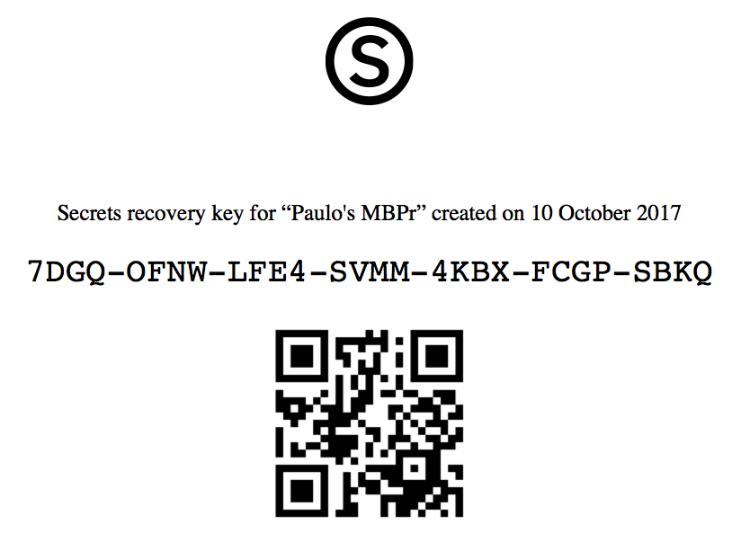Printed recovery key sample