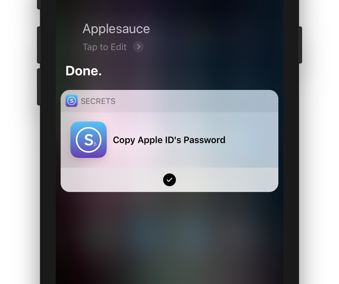 Copying a password using Siri Shortcuts